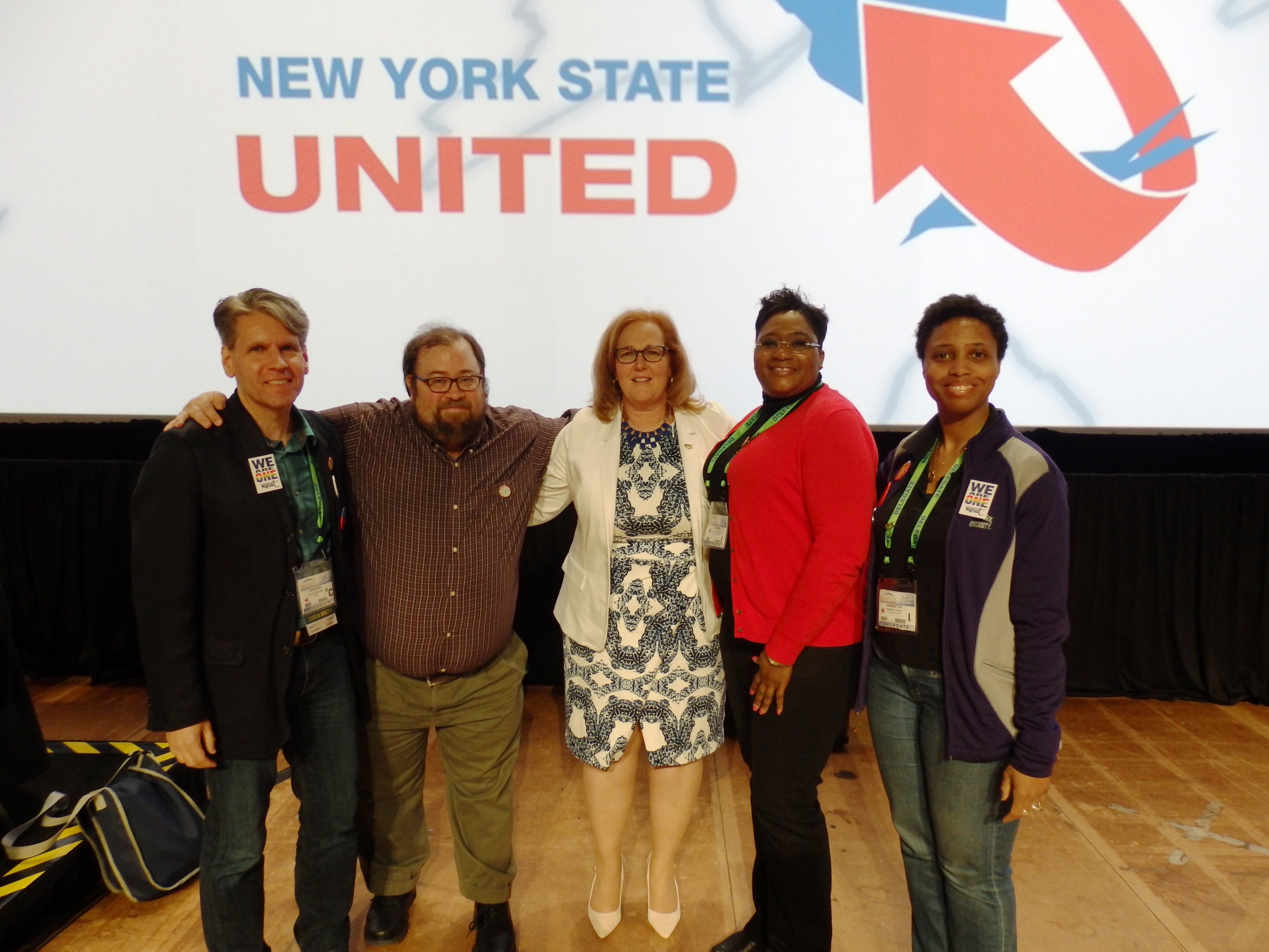 NYSUT 2016 RA-NYSUT President Karen MaGee (c) w/UCATS delegates (l to r) Stephen Rechner, Christopher Crowe, Latonia McMillan & Henrietta Jones