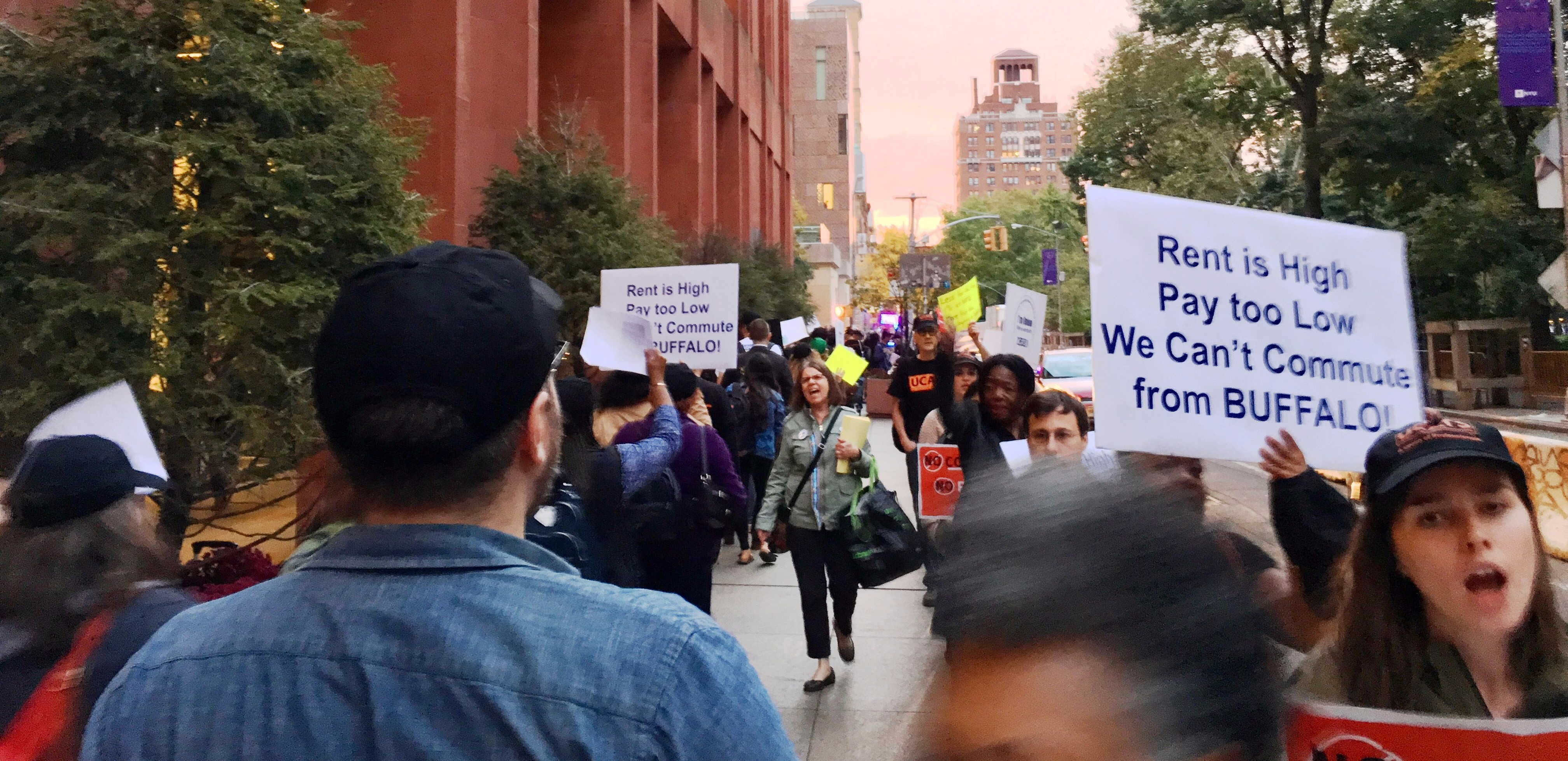 UCATS members and supporters rallied for a fair contract in front of Bobst Library on October 25.